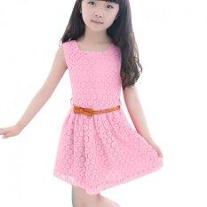 Amart bayi anak perempuan rok tanpa lengan baju Princess renda gaun musim panas yang baru lucu dengan sabuk