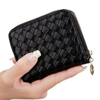 Amart dompet tenun klasik dengan wadah kartu dompet pendek kulit PU (hitam)  - Intl 49f0534ec5