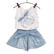 Amart gadis tanpa lengan busur kaus atasan + celana pendek motif kotak-kotak pakaian anak Set - Internasional