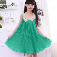 Amart Girls Sequin Chiffon Summer Sleeveless Vest Dress Bling Tutu Skirt (Green) - intl