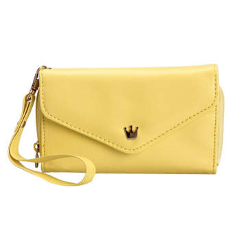 Amart Lovely Crown Clutches PU Leather Wallet Portable Mobile Phone Bag(Yellow) - intl