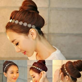 Amart Lovely Metallic Lady Hollow Rose Flower Elastic Hair Band