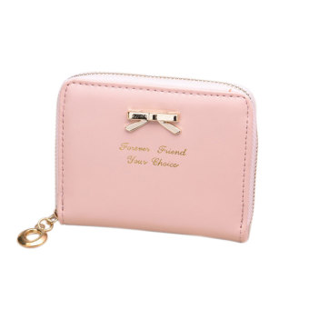 Amart Lovely Purse Women Wallets Short Small Bag PU Leather Card Hold( Pink)