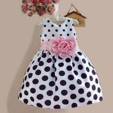 Amart lucu anak balita perempuan gaun Princess tanpa lengan motif polkadot simpul pakaian gaun anak - Internasional
