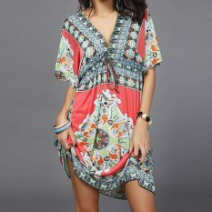 Amart Sexy Women Beach Dress V-neck Silk One-piece Dress Holiday Flower Print Bathing Dresses - intl