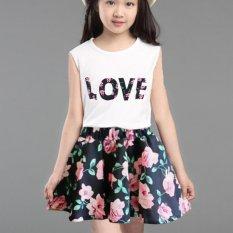 Amart Summer Kid' Dress Sleeveless T-Shirt Top and Floral Skirt Little Girls Outfit Set