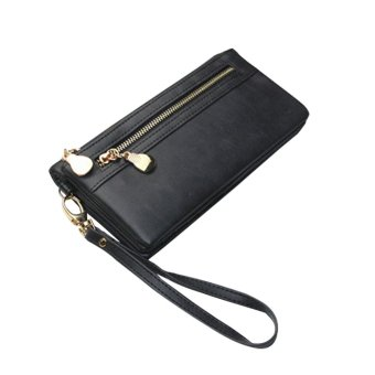 Amart Women Clutch Bag Leather Long Wallet Handbag Purse(Black) - intl