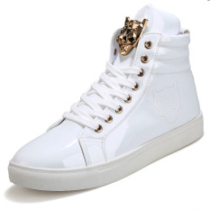 PINSV British Style Men's Casual Shoes Fashion Sneakers High Cut (White) - Intl