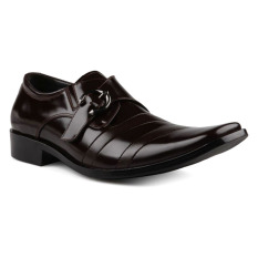 Andretelli Men Buckle Variation with Glossy Brushed Leather Dress Shoes Genuine Leather - Maroon