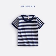 Angin angkatan laut biru dan putih anak-anak Musim Panas t-shirt kemeja bergaris-garis laut (Biru tua)