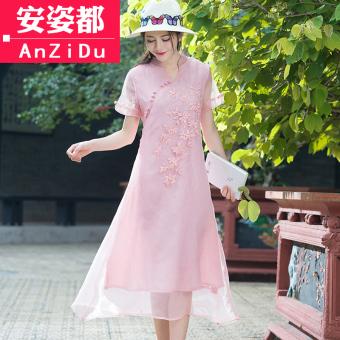 Angin nasional musim panas wanita lengan pendek ditingkatkan gaun cheongsam (Pucat merah muda abu-