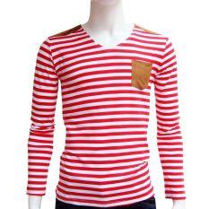 Angkatan Laut Musim Semi dan musim gugur baru pria lengan panjang bergaris t-shirt (Merah)