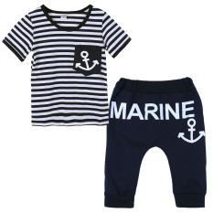 Angkatan Laut Set pakaian anak model-t-shirt garis + celana (hitam putih) - International