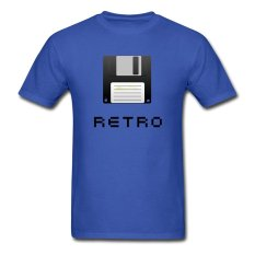 AOSEN FASHION Custom Printed Men's Floppy Disk Retro T-Shirts Royal Blue