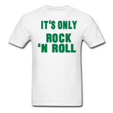 AOSEN FASHION Customize Men's Its Only Rock N Roll T-Shirts White