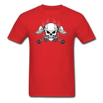 AOSEN FASHION Designed Men's Winged Death Skull T-Shirts Red