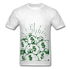 AOSEN FASHION Fashion Men's Money Cash T-Shirts Light Oxford