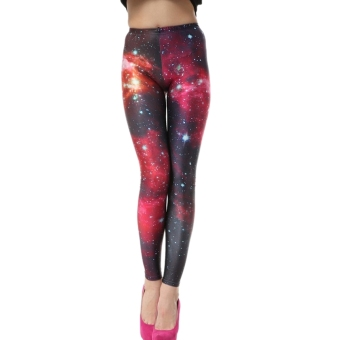 AOXINDA New Printed Fashionable Women's Galaxy Pink Printed Stretch Leggings Pencil Tight Pants - Intl