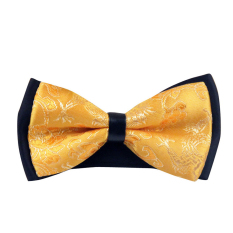 AOXINDA Tied Bow Ties Necktie Bowtie Tie Knot Mens Pre-tied Adjustable Bowtie Neckwear Classic Paisley Jacquard Bow Tie Yellow - Intl