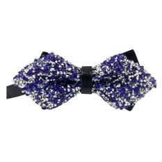 AOXINDA Tied Bow Ties Necktie Bowtie Tie Knot Mens Vintage Luxury Tuxedo Bow Ties Pre-Tied Bling Rhinestone Bowtie - Blue - Intl
