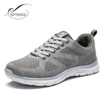 APTESOL Running Shoes For Mens Outdoor Sport Brand Air MeshBreathable Sneakers Super Light Damping Soft Lace Up Shoes(Grey) -intl