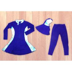 Ariza Sport Baju Renang Muslimah Anak-Biru Motif Batik