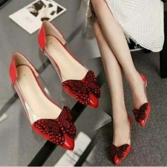 Arlaine Butterfly Flat Shoes [Red]