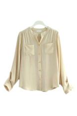 ASTAR Button Pocket Women Casual T Shirt Chiffon Blouses (Apricot) - Intl