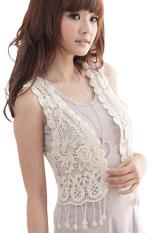 ASTAR Hollow-Out Lace Tops Blouse Vest Short Crochet Waistcoat (White)