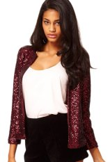 ASTAR Lady Women Fashion Long Sleeve O-Neck Sequins Button Casual Short Coat (Wine Red) (Intl)