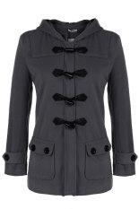 Astar Meaneor Women Fashion Wool Blend Hooded Casual Warm Long Solid Coat Outwear Jacket (Dark Grey) (Intl)