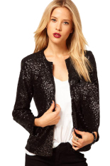 ASTAR New Lady Women Fashion Long Sleeve O-Neck Sequins Button Casual Short Coat (Black) (Intl)