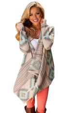 Astar Stylish Women Long Sleeve Geometric Print Open Front Loose Outwear Jacket Coat Top (Green) - Intl