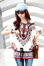 ASTAR Women Casual Round Neck Blouse Loose Print Batwing Sleeve Tunic Blouse Tops (White)