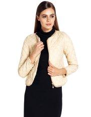 ASTAR Women V-neck Long Sleeve Short Slim Fit Padded Jacket Khaki