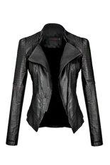 ASTAR Women's Fashion Cool Girl Synthetic Leather Jacket Motorcycle Coat Jacket