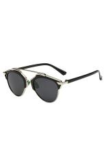 Aukey Kucing Perempuan Mata Kacamata Retro Kacamata Hitam (Perak/Hitam)