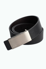 Automatic Buckle Leather Waist Strap Belts Silver & Black