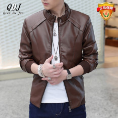 Autumn And Winter Fashion Men's Leather Jacket Male Casual Mandarin Collar Leather Coat Youth Long Sleeve Locomotive Leather Jacket-Brown - Intl
