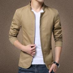 Autumn New Korean Slim Collar Cotton Washed Jacket (Khaki) - Intl