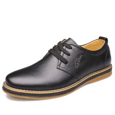 Autumn New Men's Business Casual Breathable Lace-up Leather Shoes (Black) - Intl