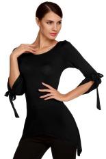 AZONE ACEVOG Stylish Ladies Women Casual 3/4 Flare Sleeve Solid Slim Irregular Asymmetric Top Blouse Shirt T-Shirt (Black) - Intl