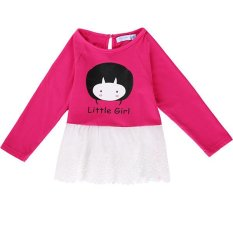 Azone Fashion Casual Kids Girl Round Neck Long Sleeve Embroidery Patchwork T Shirt Tops ( Rose Red )