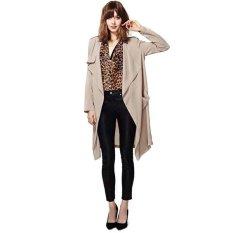 Azone Fashion Women Casual Loose Long Sleeve Split Hem Irregular Pocket Solid Trench Coat (Khaki)