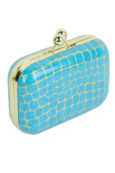 Azone Fashion Women Synthetic Leather Chain Bag Handbags Evening Bag Clutch (Blue)