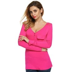Azone Finejo Women V Neck Long Sleeveless Lace Patchwork Solid Stretch T Shirt Tops (Rose Red)