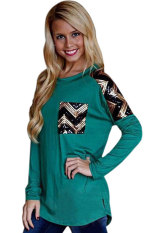 Azone Lady Long Sleeve Sequin Patchwork Casual Top Blouse (Green)
