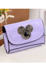 Azone Lady's Synthetic Leather Chain Shoulder Bag Handbags Casual Cross Bags (Purple)