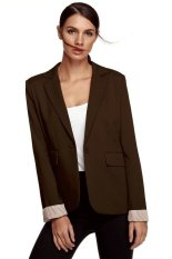 AZONE Meaneor Stylish Ladies Women Casual Formal Office Solid Suit One Button Blazer Roll-up Stripe Cuffs Tailoring Coat (Brown) - Intl