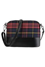 Azone Plaid Flap Shoulder Bag Crossbody Messenger Bag (Red)